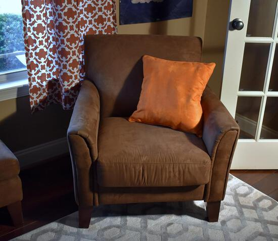 Coffee Brown Faux Suede Alison Furniture Armchair with Accent Pillow, Lots 16 & 17 Match