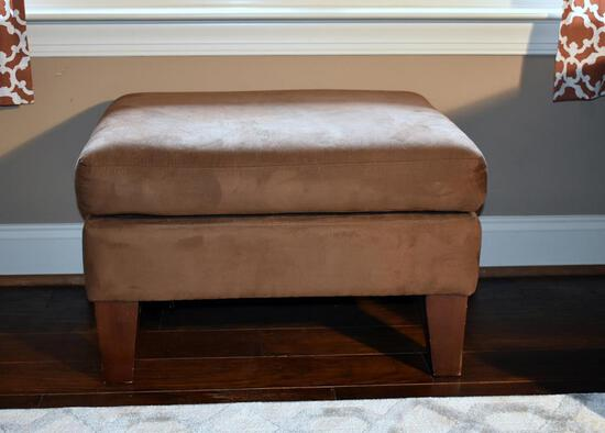 Coffee Brown Faux Suede Alison Furniture Ottoman, Lots 16 & 17 Match