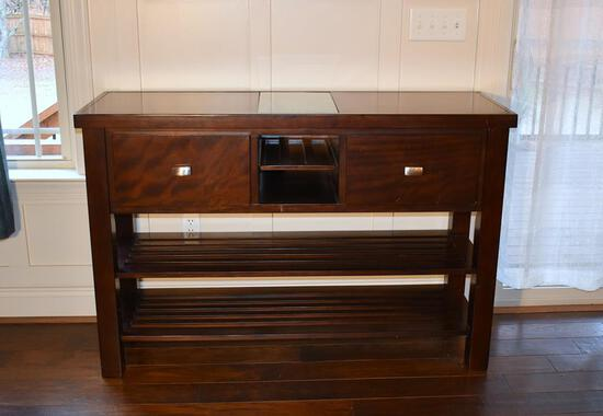 Wood Sideboard / Server with Glass Insert on Top, Two Shelves Below
