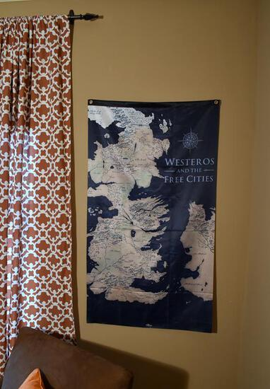 """Westeros And The Free Cities"" Cloth Hanging Wall Art"