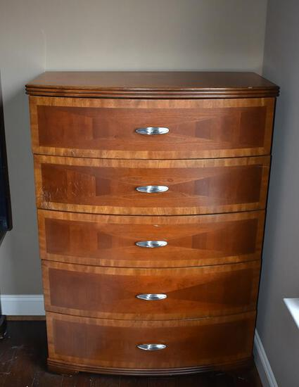 Cherry 5-Drawer Chest, Beautiful Wood Pattern, Lots 5 & 6 Match
