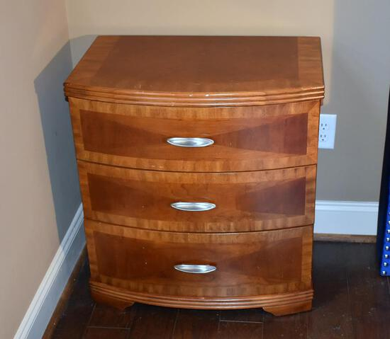 Cherry 3-Drawer Nightstand, Beautiful Wood Pattern, Lots 5 & 6 Match
