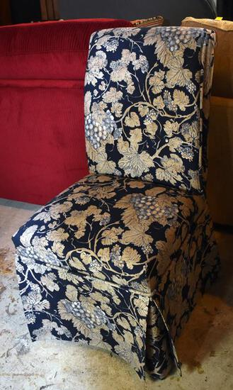 Elegant Navy & Cream Skirted Side Chair (Matches Lot 12)