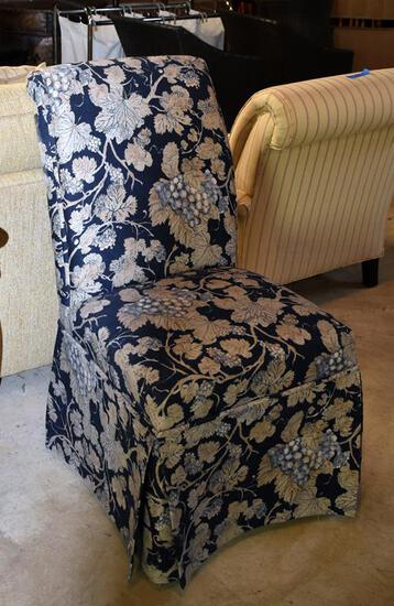 Elegant Navy & Cream Skirted Side Chair (Matches Lot 11)
