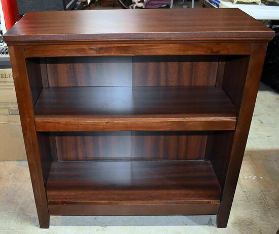 Sturdy Walnut Finish Bookcase, 2 Shelves, Lots 19 & 20 Match