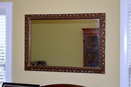 Large Vintage Gilded Wood Wall Mirror, Beveled Glass