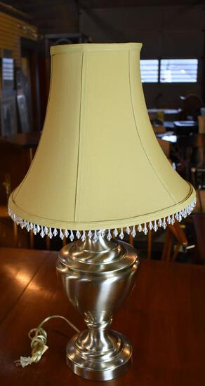 Brass Legacy Home Brushed Chrome Table Lamp, Gold Shade w/ Beaded Fringe