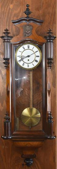 Antique Walnut Case Regulator Wall Clock