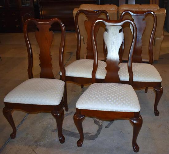 Set (4) Beautiful Thomasville Mahogany Queen Anne Dining Chairs, (4 Side Chairs), Lots 3-6 Match