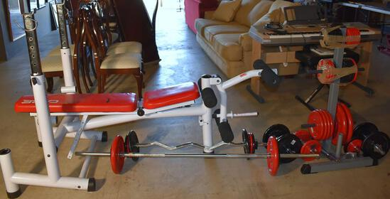 Care Weight Press Bench & Strength Equipment w/ Weights & Barbells & Stand