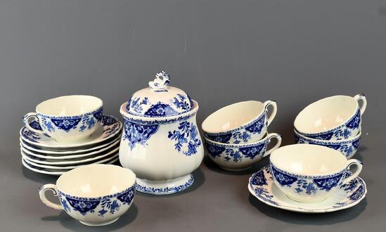 Beautiful Gien, France Porcelain Blue & White Tea China: 7 Cups & Saucers & Lidded Sugar