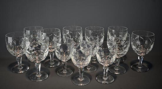 French Glass Goblets, 9 Large & 4 Small