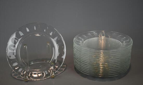 16 French Glass Salad Plates, Lots 69-70 Glass Patterns Match