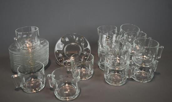 16 French Glass Mugs & Saucers, Lots 69-70 Glass Patterns Match