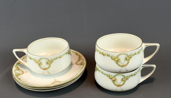 3 Pretty James China Cups & Saucers, Bavaria
