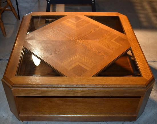 Oak Coffee Table w/ 4 Smoky Glass Inserts