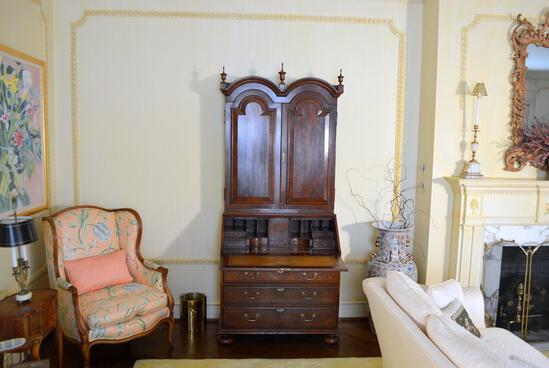 Antique George II Style Walnut & Burl Secretary, Double Bonnet Cornice, Paneled Doors, Bun Feet