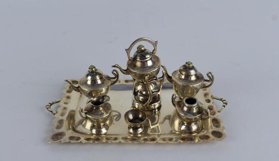 Dollhouse Miniature Sterling Silver Tea Service
