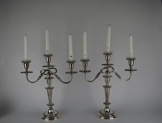 "Pair of Handsome 15.5"" Silver Plate Triple Candle Sticks"