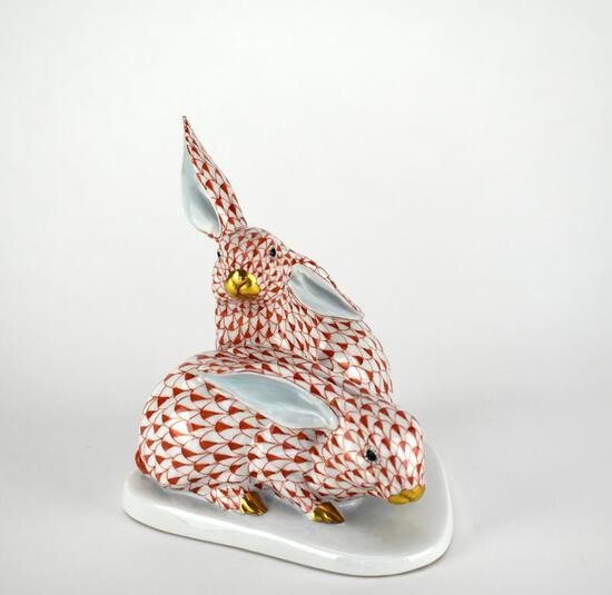 "Herend 5.5"" Rust Fishnet Bunnies Figurine"