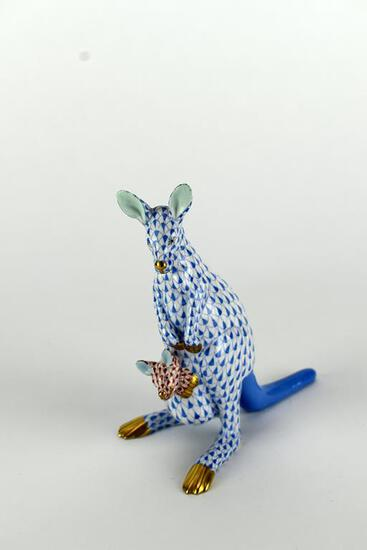 "Herend 6"" Blue Fishnet Kangaroo w/ Joey Figurine"