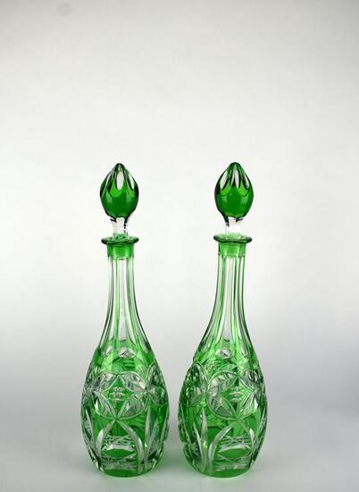"Handsome Vintage Pair of 15.5"" Green Cut Glass Bottles w/ Stoppers"