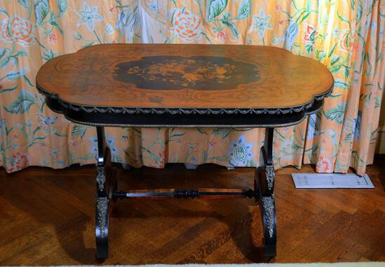 Antique 19th Century Baroque Style Marquetry Inlaid Cartouche Form Oak Side Table, Bronze Mounted