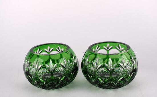 Vintage Pair of Green Cut Glass Bowls