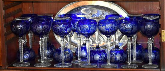 "Vintage 8.5"" Blue Cased Cut Glass Stemware, 22 Pieces"