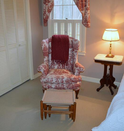 Beautiful Queen Anne Style Wing Chair in Red Toile /w Hand Made Crimson Afghan & Extra Upholstery