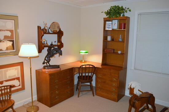 Splendid Vintage Ethan Allen Desk, Hutch and Chest Grouping