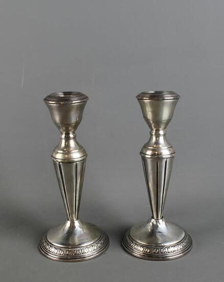 Pair of Weighted Sterling Silver Candle Holders
