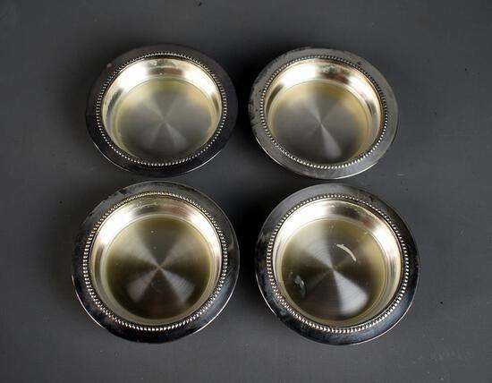 Set of 4 Vintage Blackinon Fine Silver Plated Coasters
