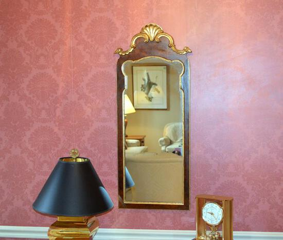 Lovely Mahogany & Gilded Wood Queen Anne Style Mirror