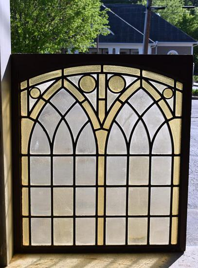 Antique Arch-Top Stained Glass Church Window