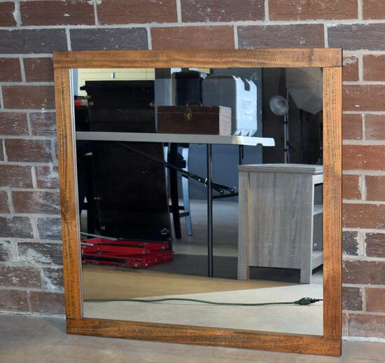 Large Square Wood Framed Wall Mirror