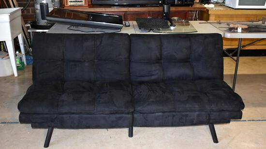 Black Velour Nisco Futon Sofa / Bed