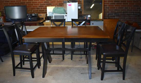 Steve Silver Counter Height Dining Table w/ Leaf, Oak Top, Black Wooden Base (Lots 2 & 3 Match)