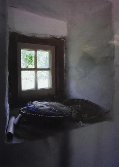 Art of Baskets of Fiber at Window Framed Photograph Print by Jean Finnila
