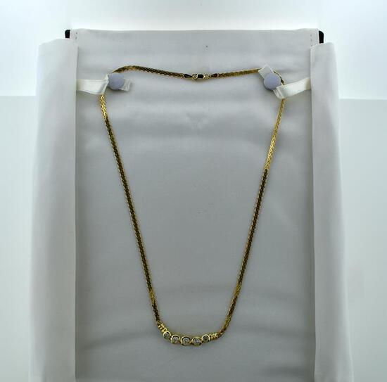 """14K Yellow Gold and Diamond Necklace, 17"""" L"""