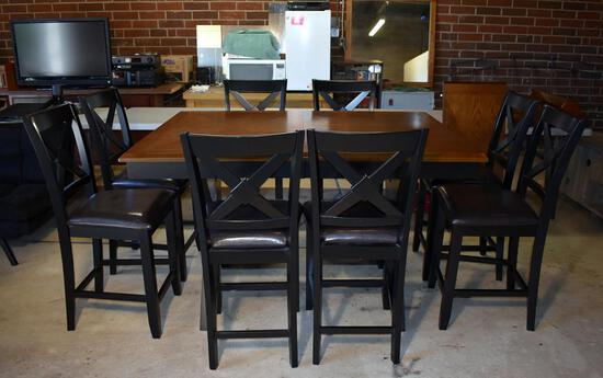 Steve Silver Set of 8 Counter Height Dining Chairs, Leather-Style Seats (Lots 2 & 3 Match)