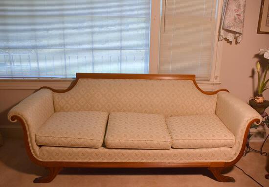 Elegant Antique Mahogany Duncan Phyfe Three Cushion Sofa