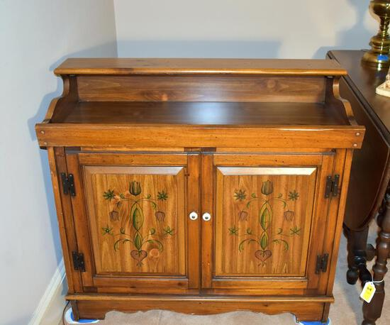 Unique Hand Painted Dry Bar Style Magnavox Stereo System Cabinet w/  Turntable