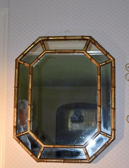 Gilded Finish Bambooesque Octagonal Wall Mirror