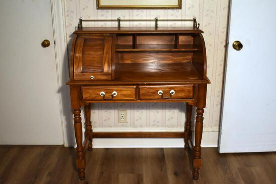 Small Vintage Oak Desk with Lift Top Compartment, Brass Rail, & Finished Back