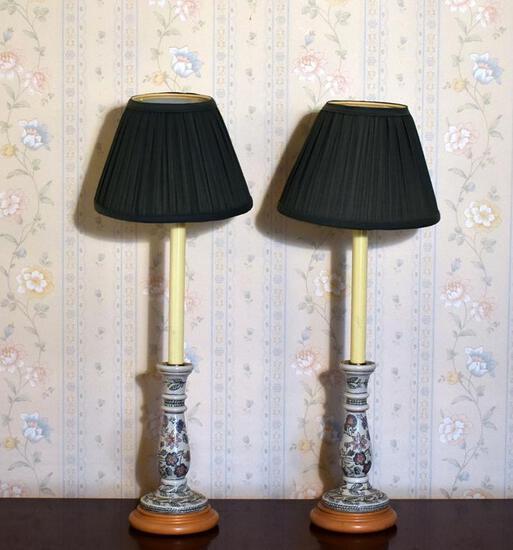 Pair of Pretty Floral Design Ceramic Buffet Lamps