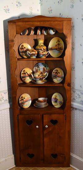 Cute Vintage Pine Corner Hutch w/ Heart Cutouts