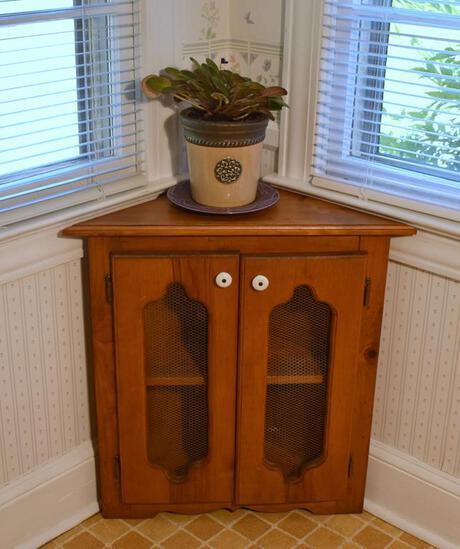 Vintage Pine Corner Cabinet w/ Screened Doors