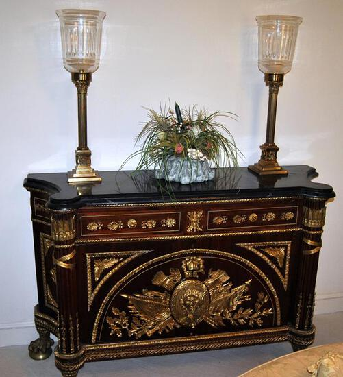 Black Marble Top Empire Style Console, Ornate w/ Ormolu Decoration, Ball & Claw Feet, Made in Egypt