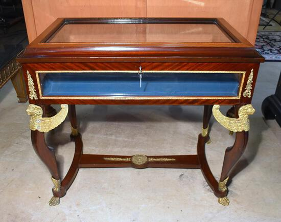 Fancy Egyptian Revival Style Paw Footed Display Case Table, Beveled Glass, w/ Key